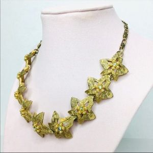 3/$50 Vintage 50's gold crystal pearl necklace